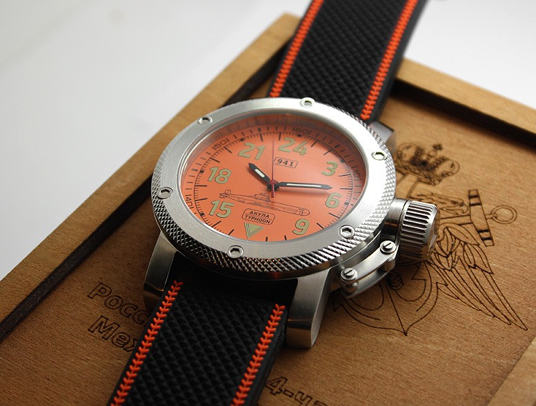 Russian Watch with 24-Hour Dial – Automatic – Submarine TYPHOON (Akula) orange 47 mm
