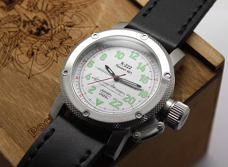 Russian Watch with 24-Hour Dial – Automatic - Submarine K-222 Anchar white 47 mm