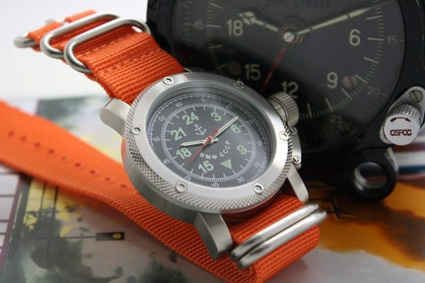 Russian Watch with 24-Hour Dial – Automatic - Russian NAVY orange 47 mm