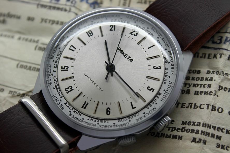 Russian 24-Hour Watch Raketa 2623.H World Time USSR 1991