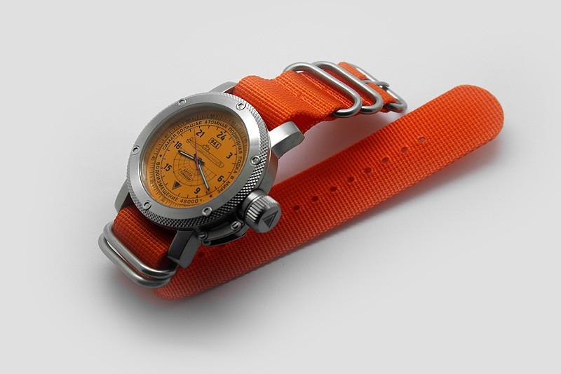 Russian Watch with 24-Hour Dial – Submarine TYPHOON (Akula) Orange Zulu 47 mm