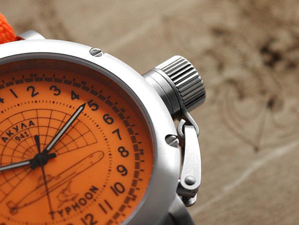 Russian 24-Hour Watch – Submarine Akula Typhoon – Orange – 45 mm