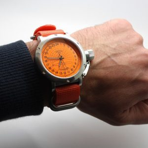 Russian 24-hours watch Submarine Akula Orange 45 mm