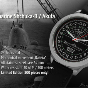 Russian navy watch – 24 hour dial – Submarine Shchuka-B Akula – Leather– 52 mm