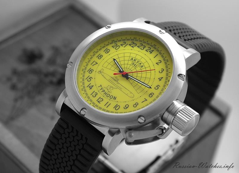 Russian 24-hour watch – Submarine Akula Typhoon – Yellow Luminous – 45 mm