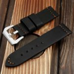 High quality genuine leather band with brushed steel clasp buckle.