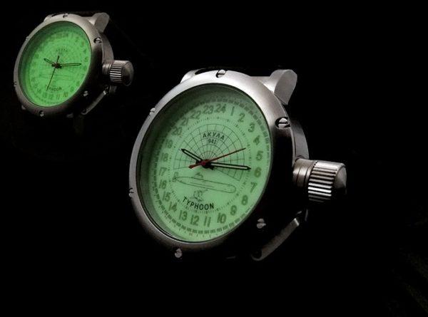 Russian 24-hours watch Submarine AKULA Luminous 45 mm