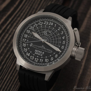 Russian 24 hour watch, Shchuka-B Submarine Black 51 mm