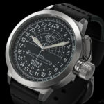 Russian 24 hour watch, Shchuka-B Submarine Black 51 mm (leather)