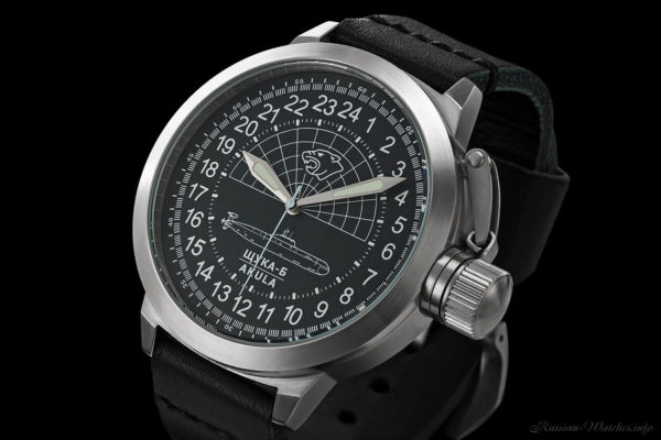 Russian 24 hour watch, Shchuka-B Submarine Black 51 mm (leather)