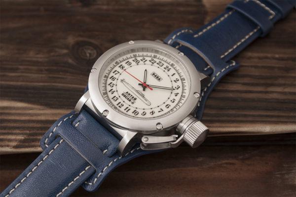 Russian 24 hour watch, Antey Submarine, Luminous 45 mm (leather)